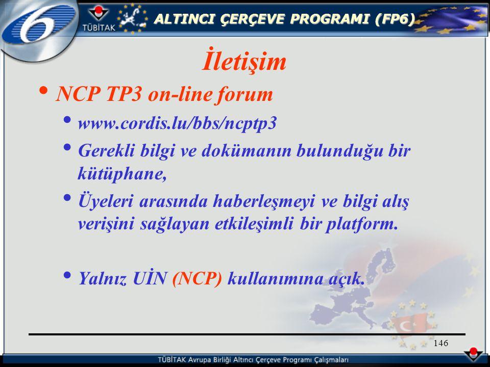 ALTINCI ÇERÇEVE PROGRAMI (FP6) 146 NCP TP3 on-line forum www.cordis.lu/bbs/ncptp3 Gerekli bilgi ve dokümanın bulunduğu bir kütüphane, Üyeleri arasında haberleşmeyi ve bilgi alış verişini sağlayan etkileşimli bir platform.