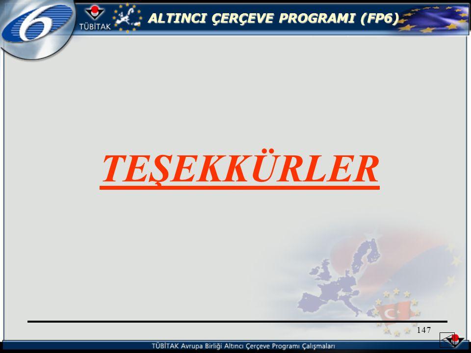 ALTINCI ÇERÇEVE PROGRAMI (FP6) 147 TEŞEKKÜRLER