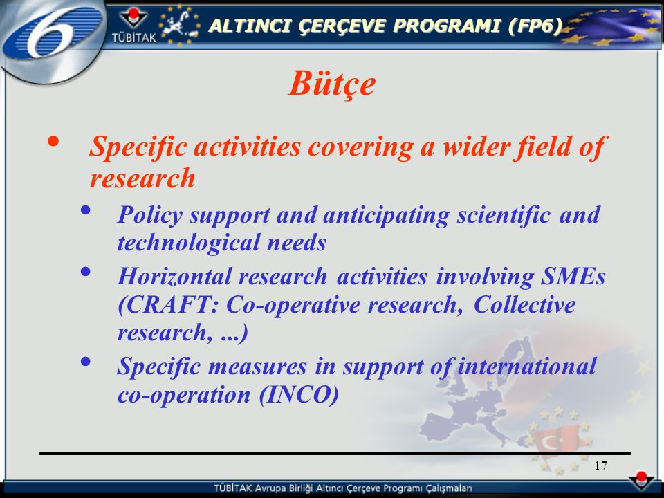 ALTINCI ÇERÇEVE PROGRAMI (FP6) 17 Specific activities covering a wider field of research Policy support and anticipating scientific and technological needs Horizontal research activities involving SMEs (CRAFT: Co-operative research, Collective research,...) Specific measures in support of international co-operation (INCO) Bütçe