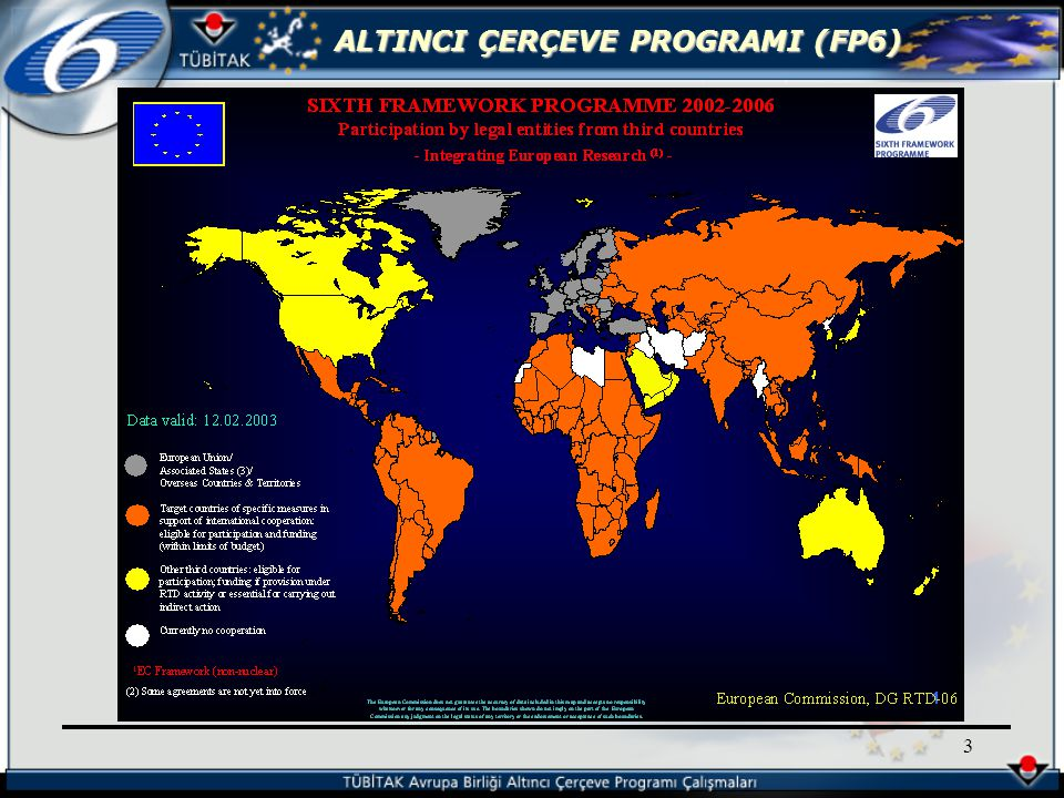 ALTINCI ÇERÇEVE PROGRAMI (FP6) 144 CORDIS Web Sitesi http://www.cordis.lu/fp6 (COmmunity Research and Development Information System) EUROPA Web Sitesi http://www.europa.eu.int/comm/ research/fp6/index_en.html İletişim