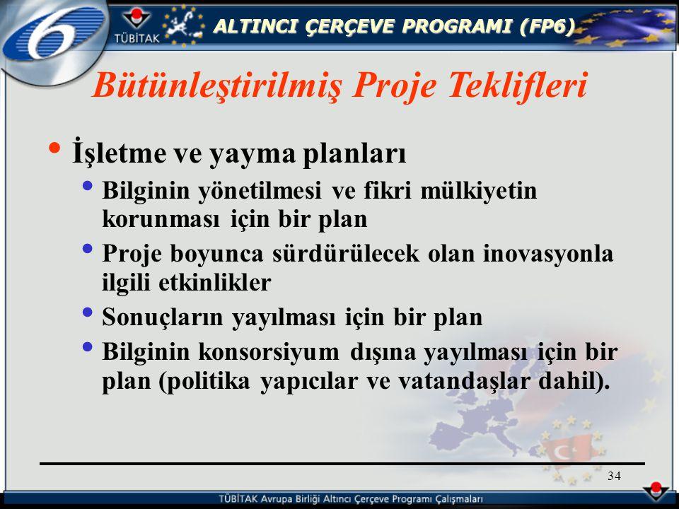 ALTINCI ÇERÇEVE PROGRAMI (FP6) 34 İşletme ve yayma planları Bilginin yönetilmesi ve fikri mülkiyetin korunması için bir plan Proje boyunca sürdürülecek olan inovasyonla ilgili etkinlikler Sonuçların yayılması için bir plan Bilginin konsorsiyum dışına yayılması için bir plan (politika yapıcılar ve vatandaşlar dahil).