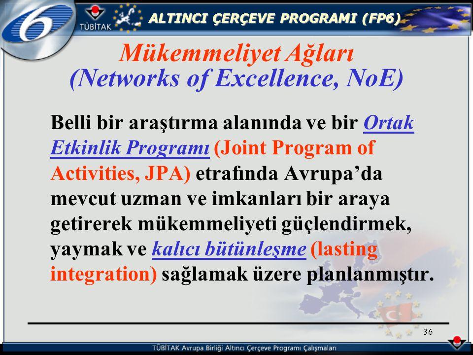 ALTINCI ÇERÇEVE PROGRAMI (FP6) 36 Belli bir araştırma alanında ve bir Ortak Etkinlik Programı (Joint Program of Activities, JPA) etrafında Avrupa'da mevcut uzman ve imkanları bir araya getirerek mükemmeliyeti güçlendirmek, yaymak ve kalıcı bütünleşme (lasting integration) sağlamak üzere planlanmıştır.