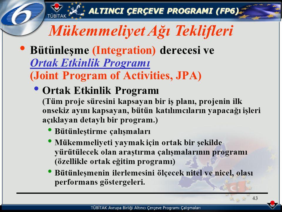 ALTINCI ÇERÇEVE PROGRAMI (FP6) 43 Bütünleşme (Integration) derecesi ve Ortak Etkinlik Programı (Joint Program of Activities, JPA) Ortak Etkinlik Programı (Tüm proje süresini kapsayan bir iş planı, projenin ilk onsekiz ayını kapsayan, bütün katılımcıların yapacağı işleri açıklayan detaylı bir program.) Bütünleştirme çalışmaları Mükemmeliyeti yaymak için ortak bir şekilde yürütülecek olan araştırma çalışmalarının programı (özellikle ortak eğitim programı) Bütünleşmenin ilerlemesini ölçecek nitel ve nicel, olası performans göstergeleri.