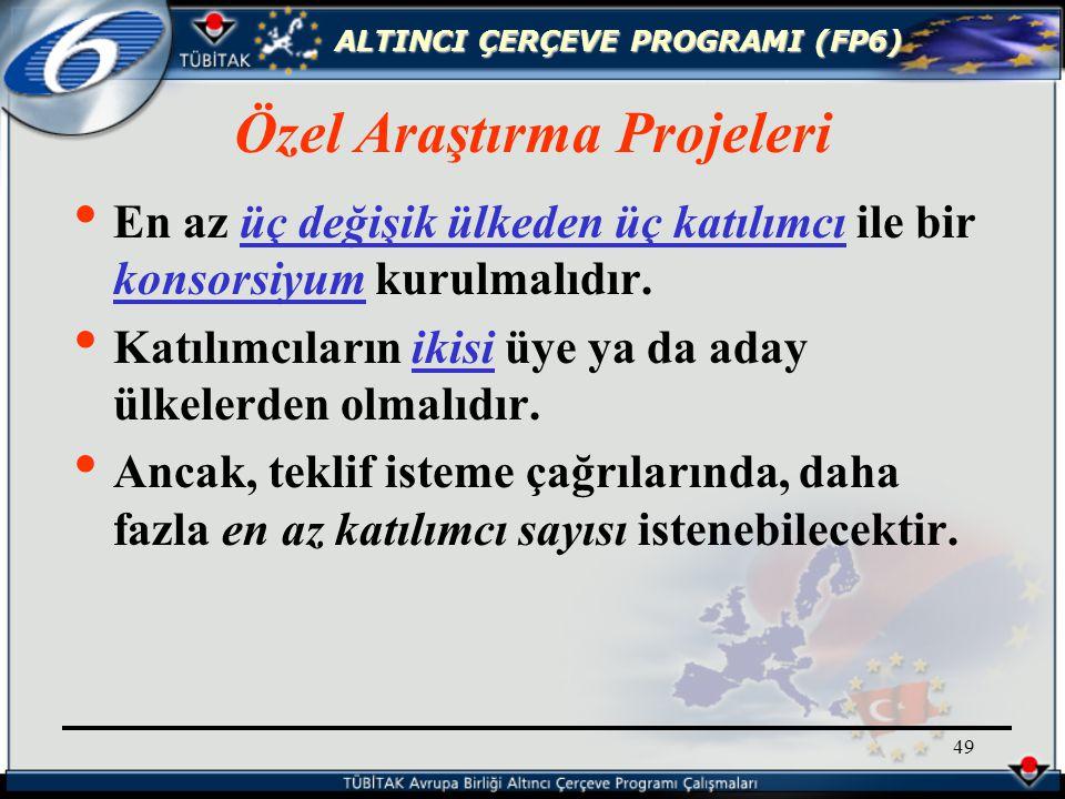 ALTINCI ÇERÇEVE PROGRAMI (FP6) 49 Özel Araştırma Projeleri En az üç değişik ülkeden üç katılımcı ile bir konsorsiyum kurulmalıdır.