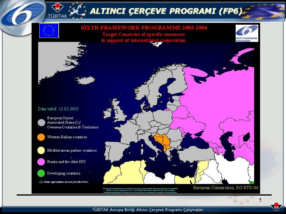 ALTINCI ÇERÇEVE PROGRAMI (FP6) 26 Uzun vadeli ya da riskli araştırmalar için kullanılabilir.