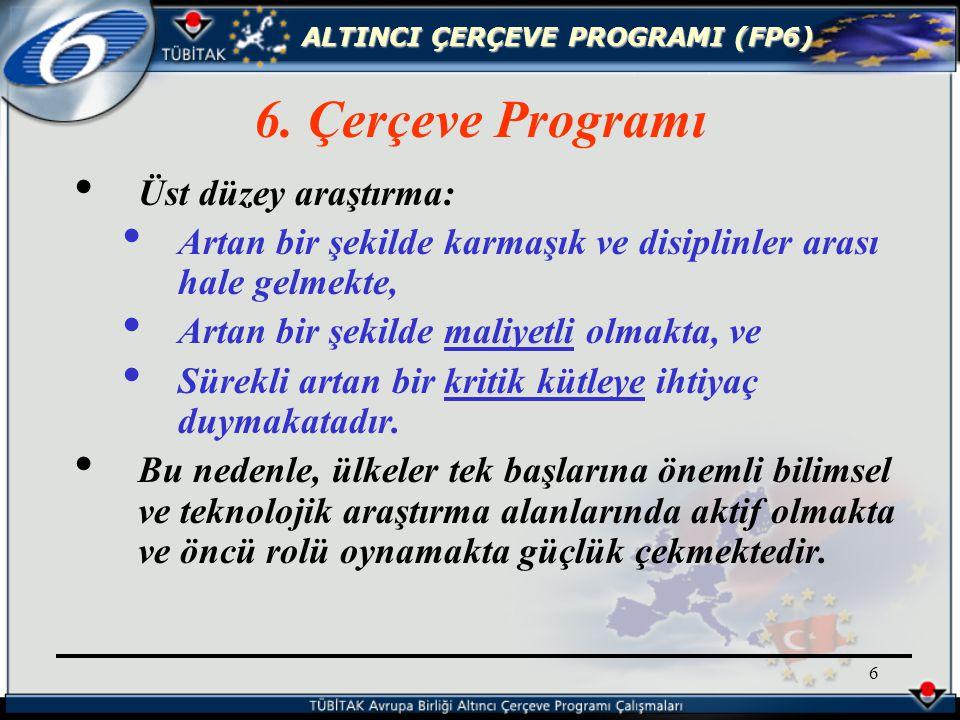 ALTINCI ÇERÇEVE PROGRAMI (FP6) 27 En az üç değişik ülkeden üç katılımcı ile bir konsorsiyum kurulmalıdır.