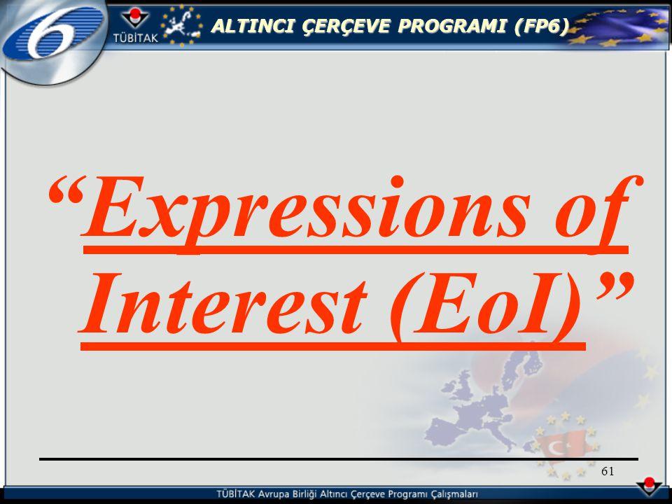 ALTINCI ÇERÇEVE PROGRAMI (FP6) 61 Expressions of Interest (EoI)