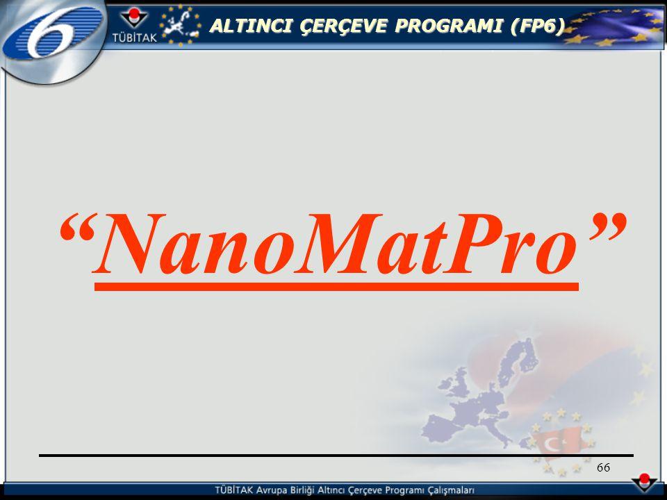 ALTINCI ÇERÇEVE PROGRAMI (FP6) 66 NanoMatPro