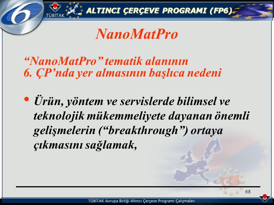 ALTINCI ÇERÇEVE PROGRAMI (FP6) 68 NanoMatPro tematik alanının 6.