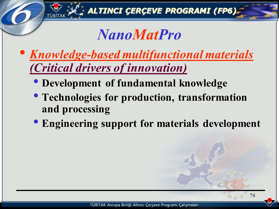 ALTINCI ÇERÇEVE PROGRAMI (FP6) 76 Knowledge-based multifunctional materials (Critical drivers of innovation) Development of fundamental knowledge Technologies for production, transformation and processing Engineering support for materials development NanoMatPro