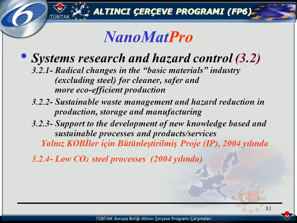ALTINCI ÇERÇEVE PROGRAMI (FP6) 81 Systems research and hazard control (3.2) 3.2.1- Radical changes in the basic materials industry (excluding steel) for cleaner, safer and more eco-efficient production 3.2.2- Sustainable waste management and hazard reduction in production, storage and manufacturing 3.2.3- Support to the development of new knowledge based and sustainable processes and products/services Yalnız KOBİler için Bütünleştirilmiş Proje (IP), 2004 yılında 3.2.4- Low CO 2 steel processes (2004 yılında) NanoMatPro