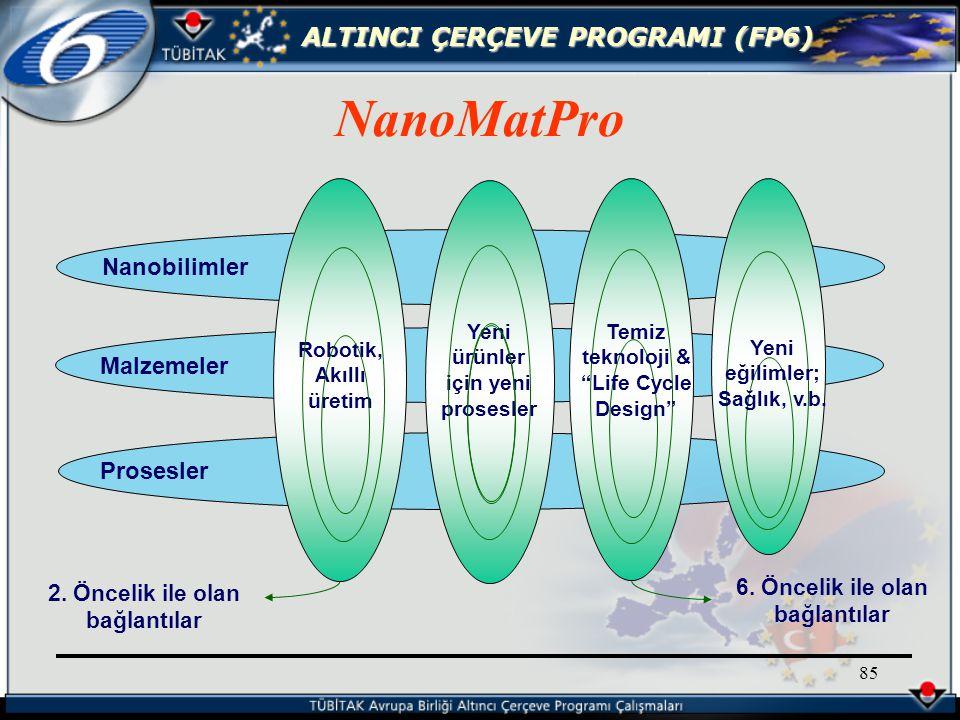 ALTINCI ÇERÇEVE PROGRAMI (FP6) 85 NanoMatPro 2.
