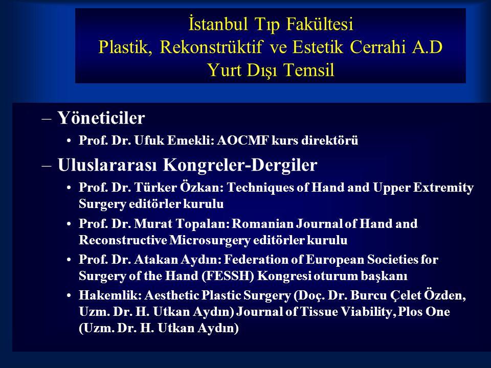 İstanbul Tıp Fakültesi Plastik, Rekonstrüktif ve Estetik Cerrahi A.D Yurt Dışı Temsil –Yöneticiler Prof.