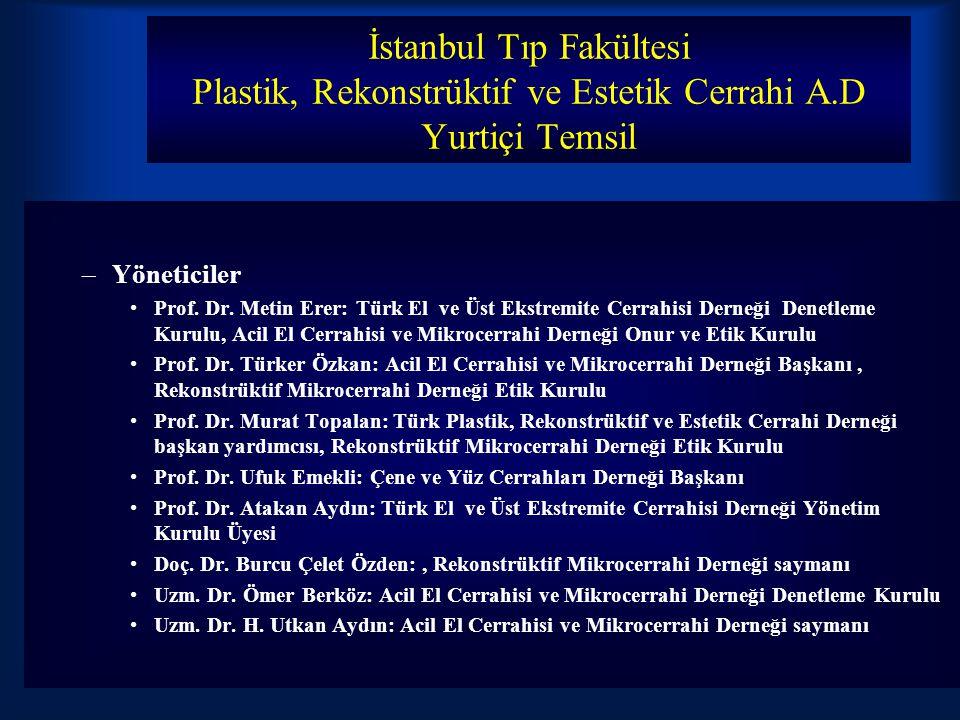 İstanbul Tıp Fakültesi Plastik, Rekonstrüktif ve Estetik Cerrahi A.D Yurtiçi Temsil –Yöneticiler Prof.