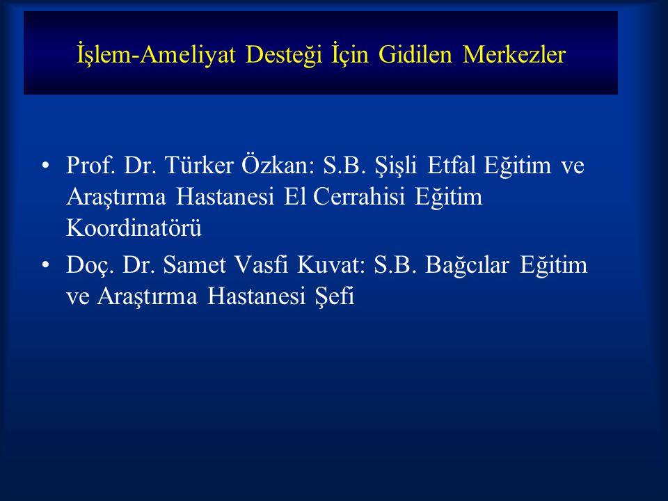 İşlem-Ameliyat Desteği İçin Gidilen Merkezler Prof. Dr. Türker Özkan: S.B. Şişli Etfal Eğitim ve Araştırma Hastanesi El Cerrahisi Eğitim Koordinatörü