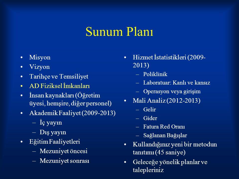 Sunum Planı Misyon Vizyon Tarihçe ve Temsiliyet AD Fiziksel İmkanları İnsan kaynakları (Öğretim üyesi, hemşire, diğer personel) Akademik Faaliyet (2009-2013) –İç yayın –Dış yayın Eğitim Faaliyetleri –Mezuniyet öncesi –Mezuniyet sonrası Hizmet İstatistikleri (2009- 2013) –Poliklinik –Laboratuar: Kanlı ve kansız –Operasyon veya girişim Mali Analiz (2012-2013) –Gelir –Gider –Fatura Red Oranı –Sağlanan Bağışlar Kullandığınız yeni bir metodun tanıtımı (45 saniye) Geleceğe yönelik planlar ve talepleriniz