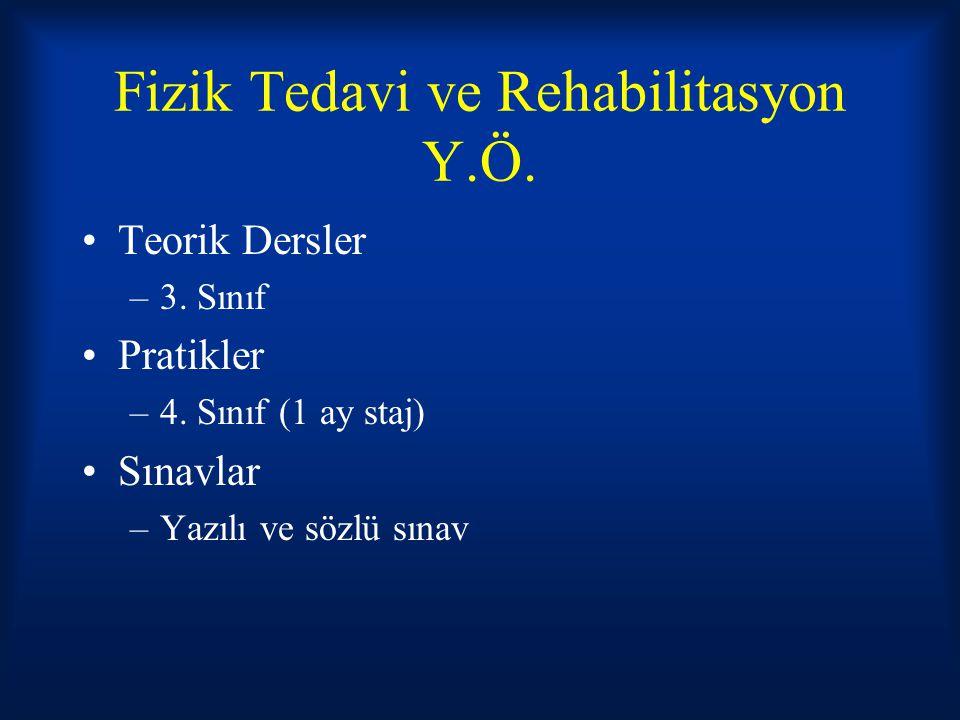 Fizik Tedavi ve Rehabilitasyon Y.Ö.Teorik Dersler –3.