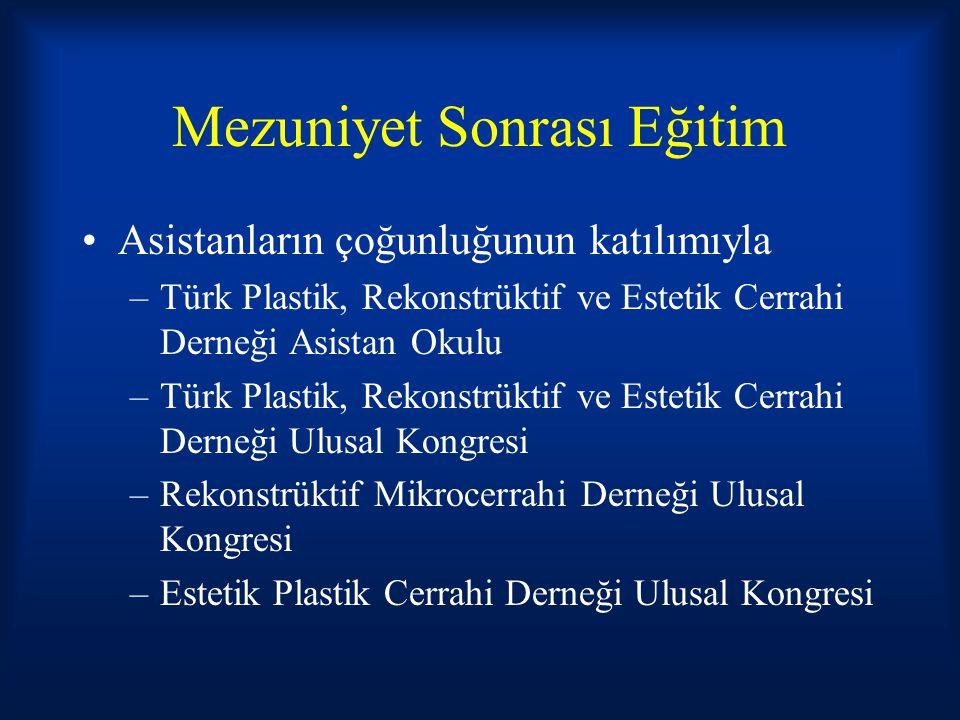 Mezuniyet Sonrası Eğitim Asistanların çoğunluğunun katılımıyla –Türk Plastik, Rekonstrüktif ve Estetik Cerrahi Derneği Asistan Okulu –Türk Plastik, Re