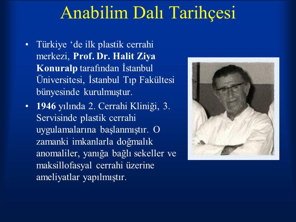 Anabilim Dalı Tarihçesi Türkiye 'de ilk plastik cerrahi merkezi, Prof. Dr. Halit Ziya Konuralp tarafından İstanbul Üniversitesi, İstanbul Tıp Fakültes