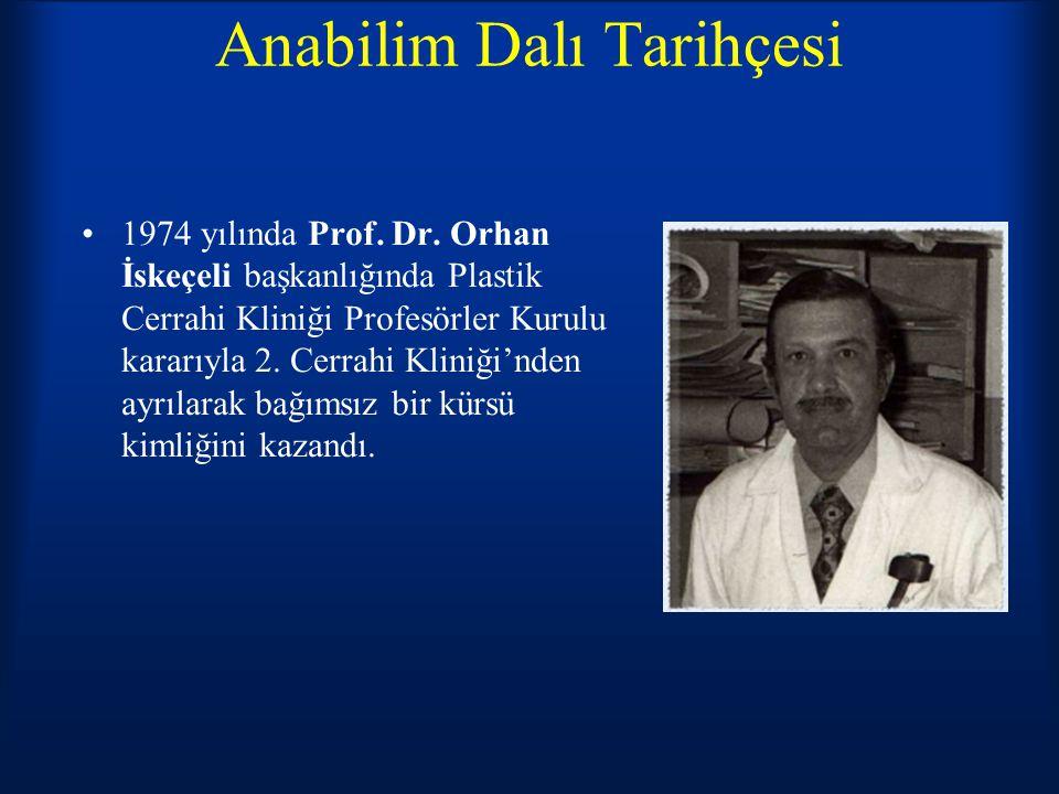 Anabilim Dalı Tarihçesi 1974 yılında Prof. Dr. Orhan İskeçeli başkanlığında Plastik Cerrahi Kliniği Profesörler Kurulu kararıyla 2. Cerrahi Kliniği'nd