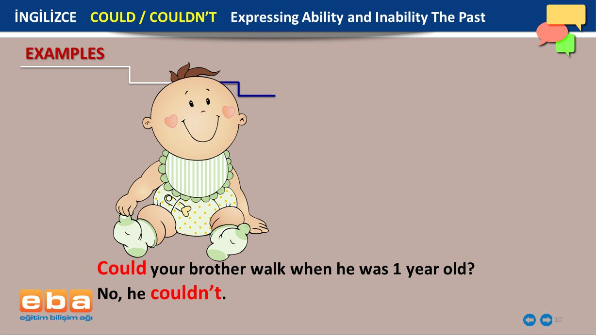 10 EXAMPLES Could your brother walk when he was 1 year old? No, he couldn't. İNGİLİZCE COULD / COULDN'T Expressing Ability and Inability The Past