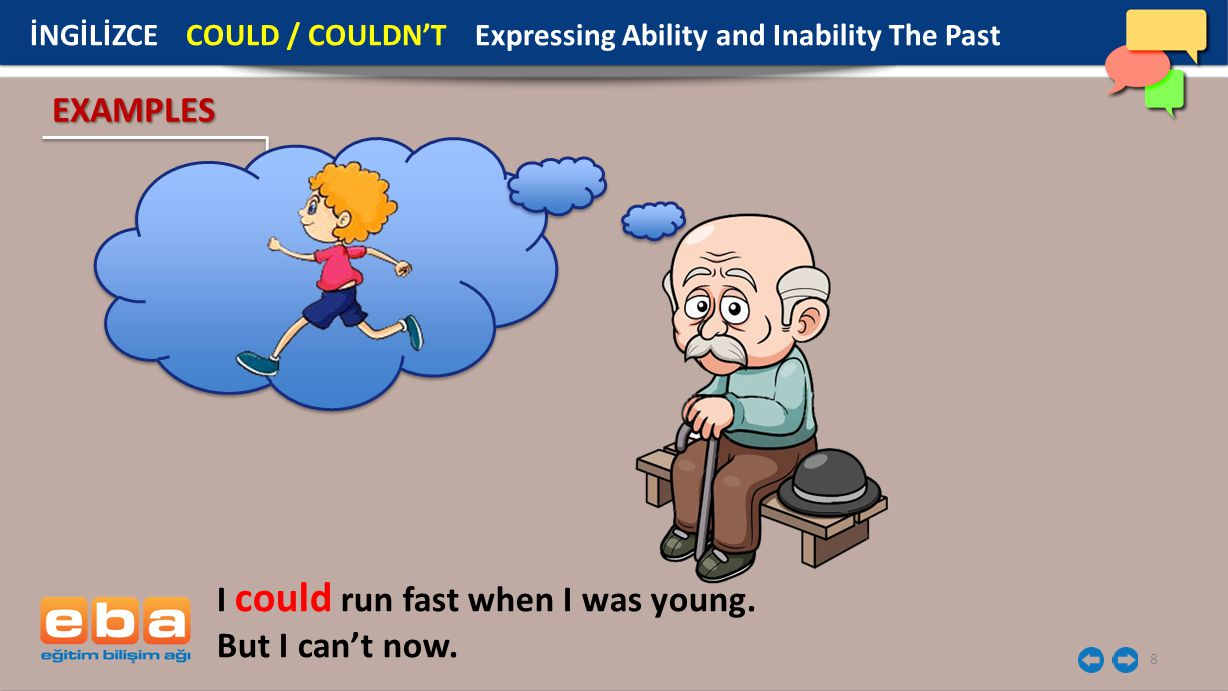 8 EXAMPLES I could run fast when I was young. But I can't now. İNGİLİZCE COULD / COULDN'T Expressing Ability and Inability The Past