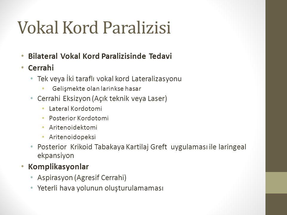 Vokal Kord Paralizisi Bilateral Vokal Kord Paralizisinde Tedavi Cerrahi Tek veya İki taraflı vokal kord Lateralizasyonu Gelişmekte olan larinkse hasar