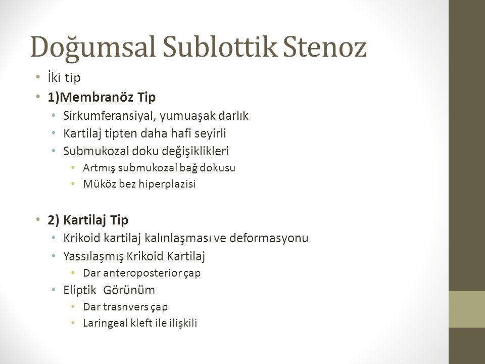 Doğumsal Sublottik Stenoz İki tip 1)Membranöz Tip Sirkumferansiyal, yumuaşak darlık Kartilaj tipten daha hafi seyirli Submukozal doku değişiklikleri A