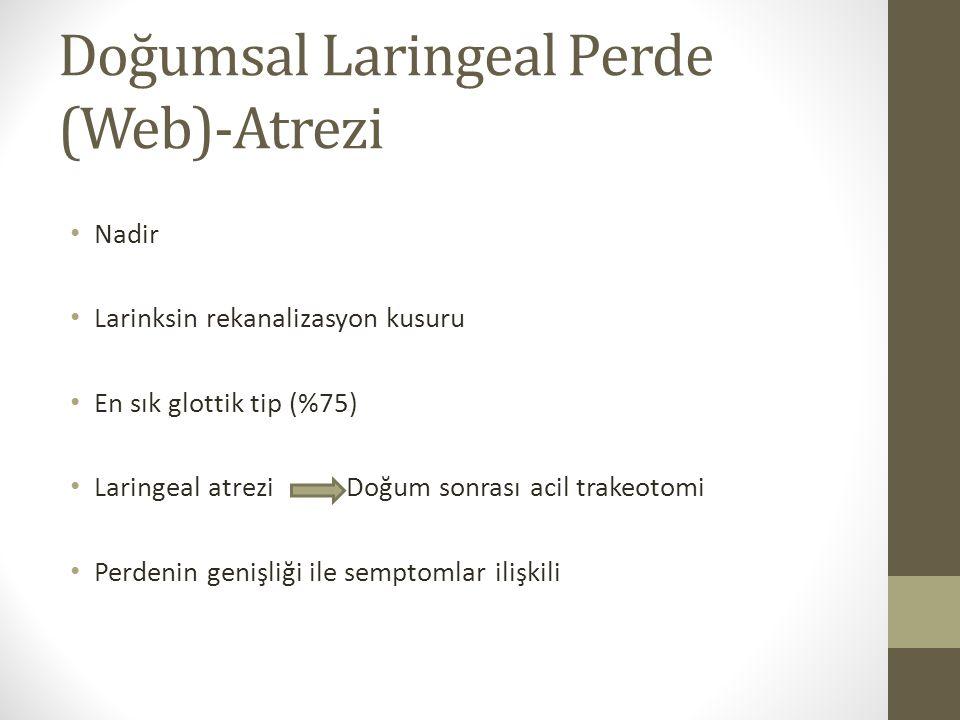 Doğumsal Laringeal Perde (Web)-Atrezi Nadir Larinksin rekanalizasyon kusuru En sık glottik tip (%75) Laringeal atreziDoğum sonrası acil trakeotomi Per