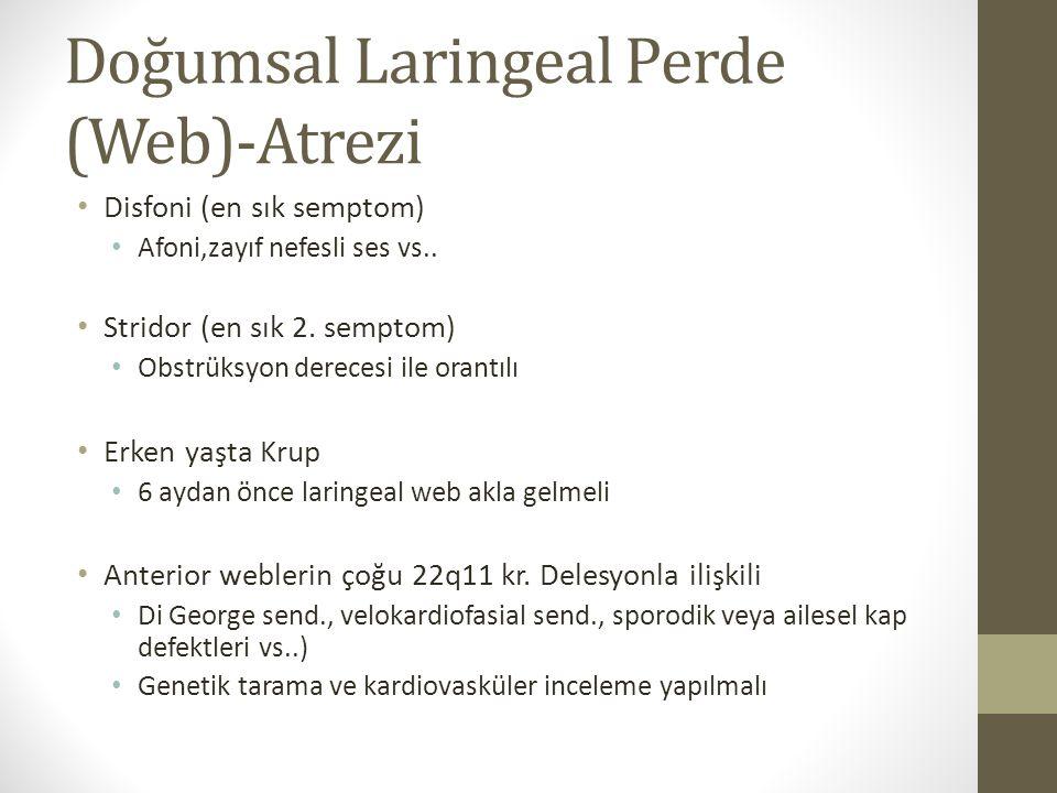 Doğumsal Laringeal Perde (Web)-Atrezi Disfoni (en sık semptom) Afoni,zayıf nefesli ses vs.. Stridor (en sık 2. semptom) Obstrüksyon derecesi ile orant