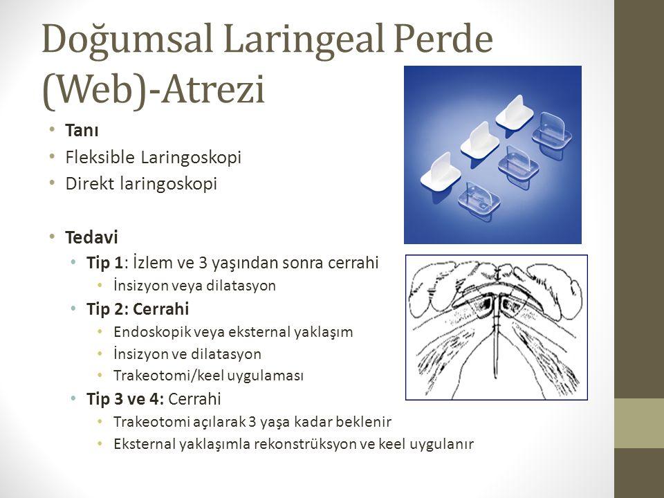 Doğumsal Laringeal Perde (Web)-Atrezi Tanı Fleksible Laringoskopi Direkt laringoskopi Tedavi Tip 1: İzlem ve 3 yaşından sonra cerrahi İnsizyon veya di