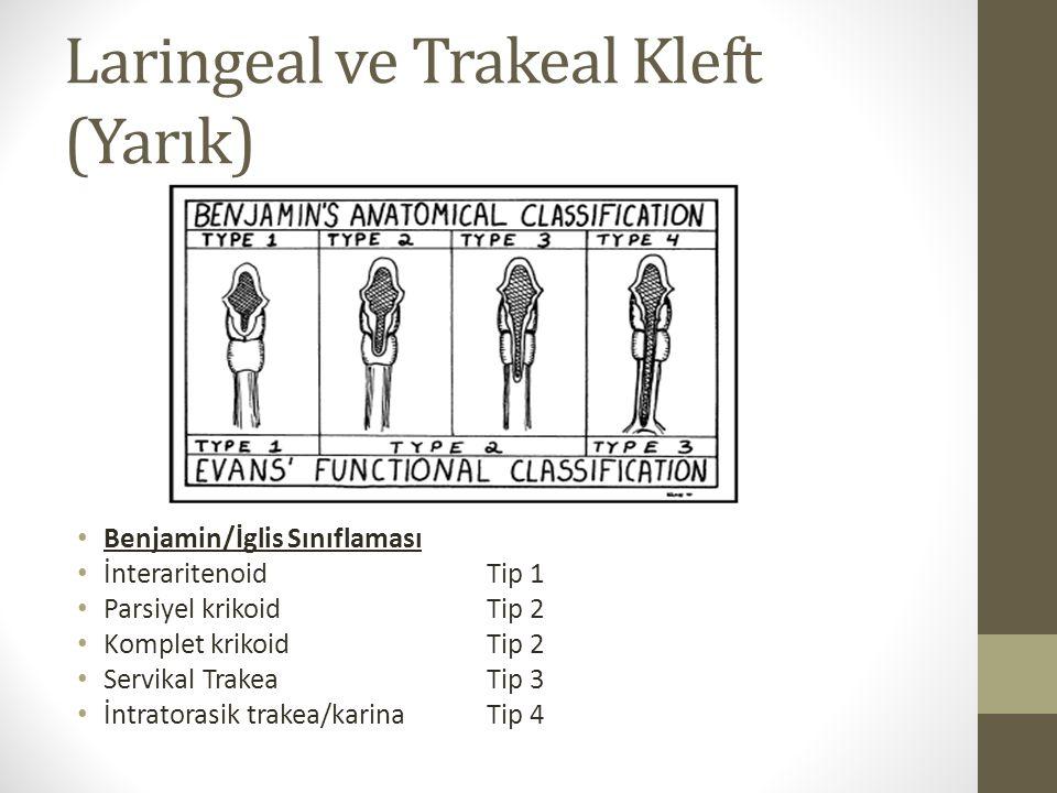 Laringeal ve Trakeal Kleft (Yarık) Benjamin/İglis Sınıflaması İnteraritenoidTip 1 Parsiyel krikoidTip 2 Komplet krikoidTip 2 Servikal TrakeaTip 3 İntr