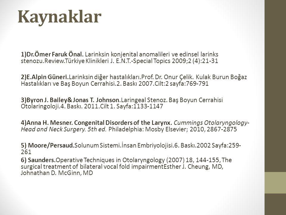 Kaynaklar 1)Dr.Ömer Faruk Önal. Larinksin konjenital anomalileri ve edinsel larinks stenozu.Review.Türkiye Klinikleri J. E.N.T.-Special Topics 2009;2