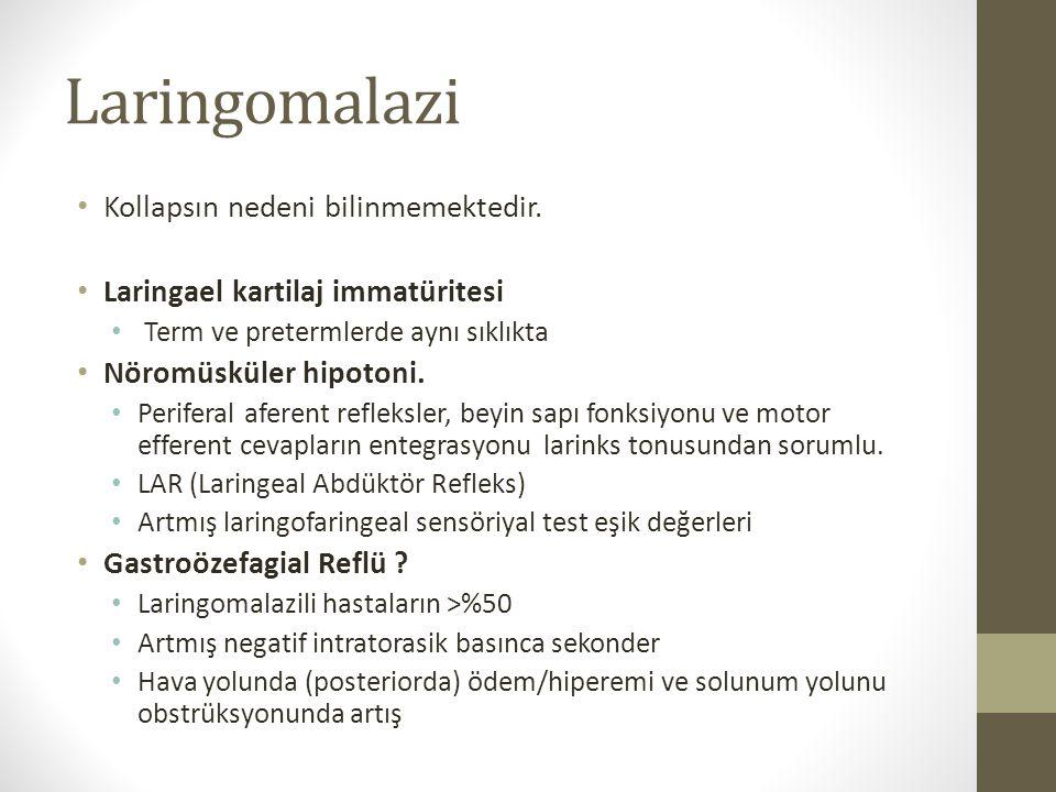Laringomalazi Supraglottik Kollaps Nedenine Göre Laringomalazi Sınıflaması Tip 1: Ariepiglottik foldlar ve özellikle de kuneiform ve kornikulat kartilajların inspiryumda lümene doğru kollapsı.