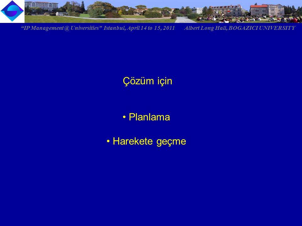 "Çözüm için Planlama Harekete geçme ""IP Management @ Universities"" Istanbul, April 14 to 15, 2011 Albert Long Hall, BOGAZICI UNIVERSITY"