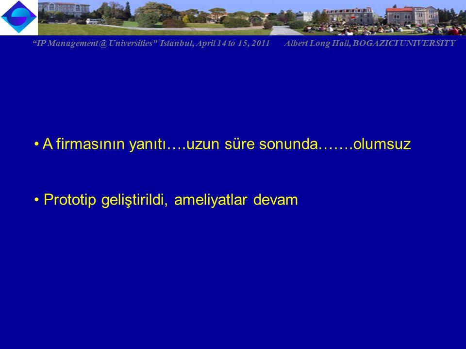 """A firmasının yanıtı….uzun süre sonunda…….olumsuz Prototip geliştirildi, ameliyatlar devam """"IP Management @ Universities"""" Istanbul, April 14 to 15, 201"""