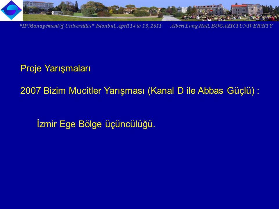 """Proje Yarışmaları 2007 Bizim Mucitler Yarışması (Kanal D ile Abbas Güçlü) : İzmir Ege Bölge üçüncülüğü. """"IP Management @ Universities"""" Istanbul, April"""