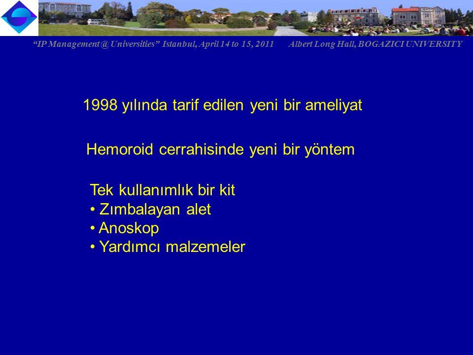 Ağrısız ameliyat Ertesi gün işine dön Uygulaması basit IP Management @ Universities Istanbul, April 14 to 15, 2011 Albert Long Hall, BOGAZICI UNIVERSITY