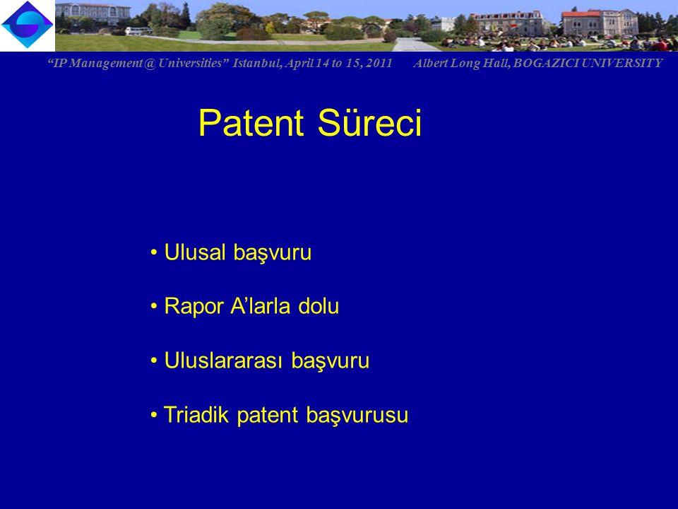 "Patent Süreci Ulusal başvuru Rapor A'larla dolu Uluslararası başvuru Triadik patent başvurusu ""IP Management @ Universities"" Istanbul, April 14 to 15,"
