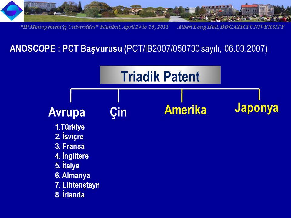 ANOSCOPE : PCT Başvurusu ( PCT/IB2007/050730 sayılı, 06.03.2007) Triadik Patent Avrupa 1.Türkiye 2. İsviçre 3. Fransa 4. İngiltere 5. İtalya 6. Almany