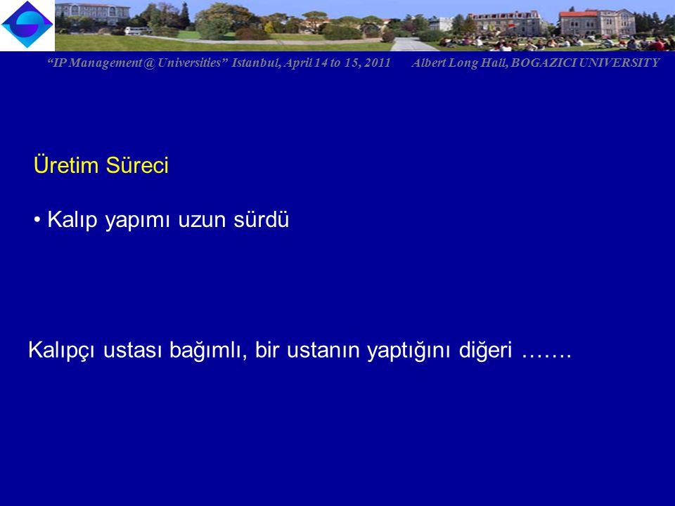 """Üretim Süreci Kalıp yapımı uzun sürdü """"IP Management @ Universities"""" Istanbul, April 14 to 15, 2011 Albert Long Hall, BOGAZICI UNIVERSITY Kalıpçı usta"""