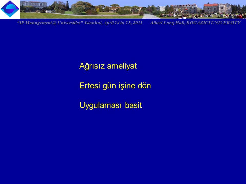 """Ağrısız ameliyat Ertesi gün işine dön Uygulaması basit """"IP Management @ Universities"""" Istanbul, April 14 to 15, 2011 Albert Long Hall, BOGAZICI UNIVER"""