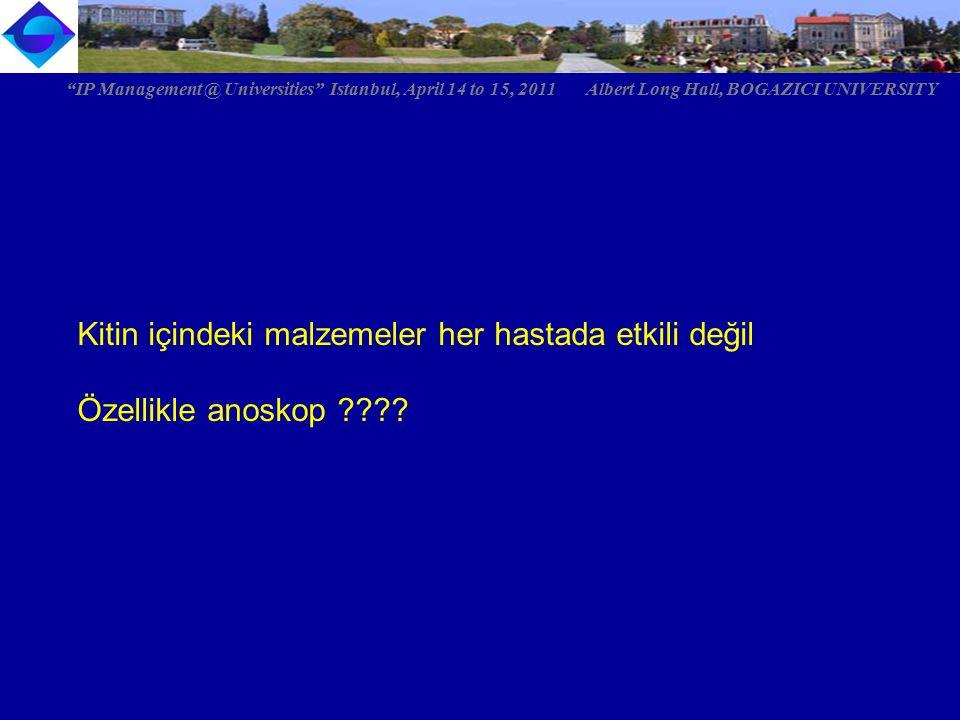 """Kitin içindeki malzemeler her hastada etkili değil Özellikle anoskop ???? """"IP Management @ Universities"""" Istanbul, April 14 to 15, 2011 Albert Long Ha"""