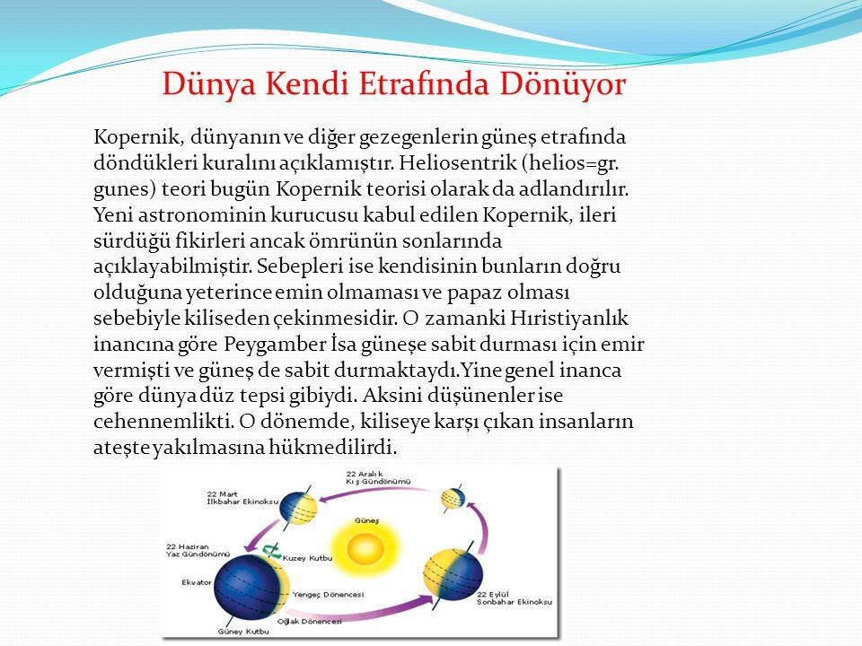 Kopernik, dünyanın ve diğer gezegenlerin güneş etrafında döndükleri kuralını açıklamıştır. Heliosentrik (helios=gr. gunes) teori bugün Kopernik teoris