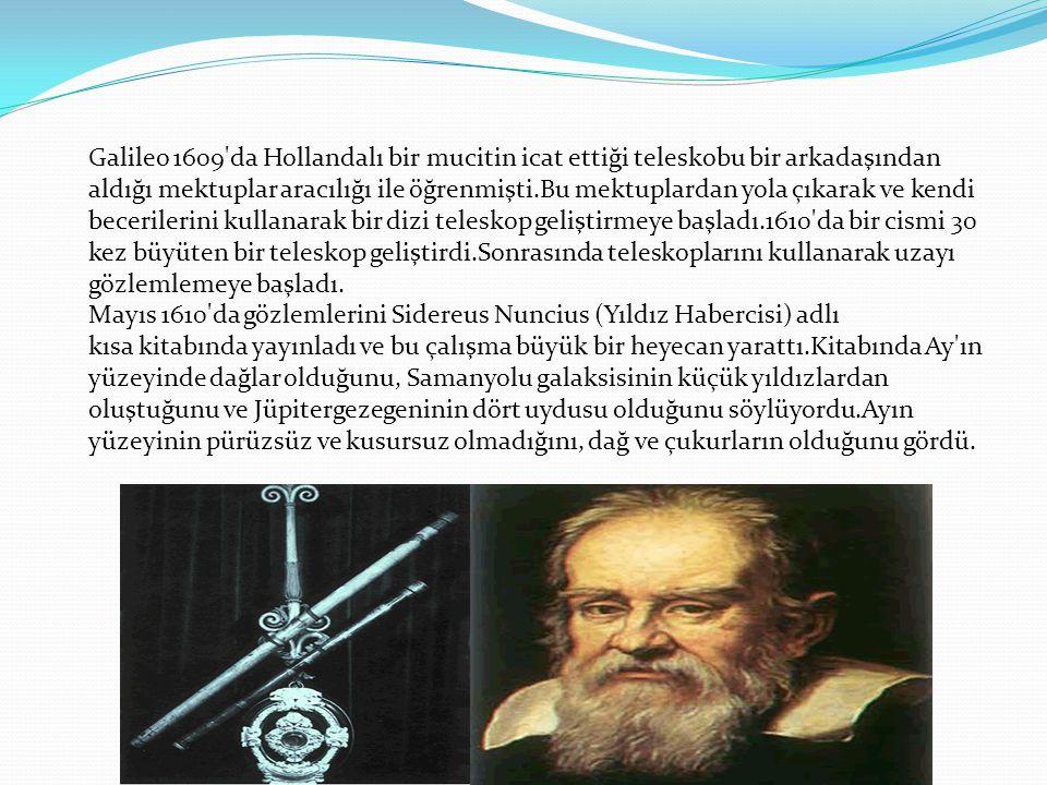 Galileo 1609'da Hollandalı bir mucitin icat ettiği teleskobu bir arkadaşından aldığı mektuplar aracılığı ile öğrenmişti.Bu mektuplardan yola çıkarak v