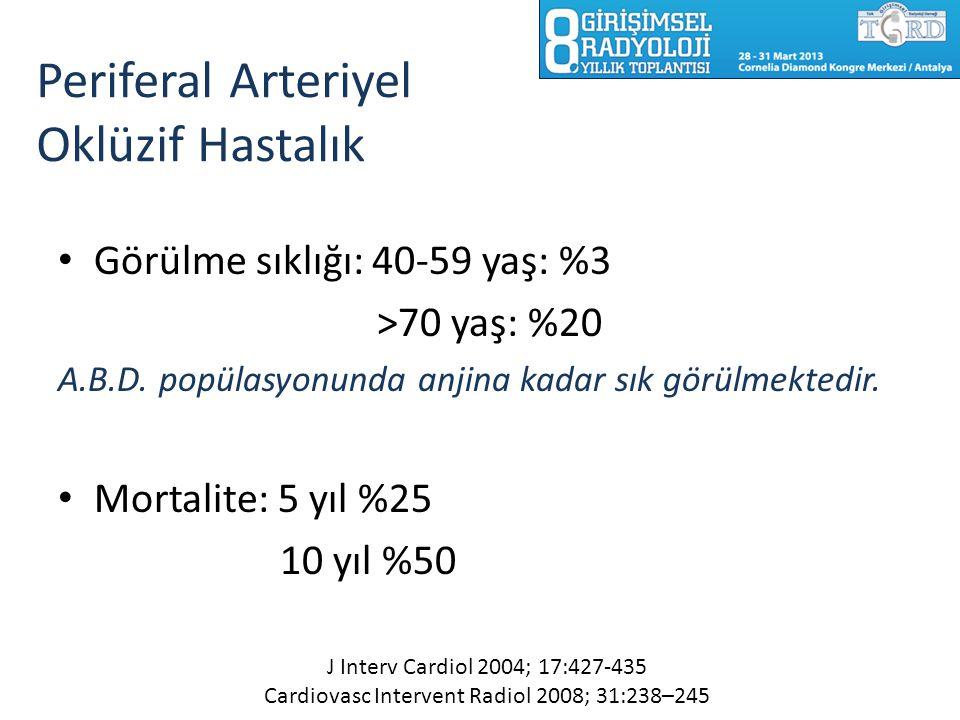Periferal Arteriyel Oklüzif Hastalık Görülme sıklığı: 40-59 yaş: %3 >70 yaş: %20 A.B.D. popülasyonunda anjina kadar sık görülmektedir. Mortalite: 5 yı