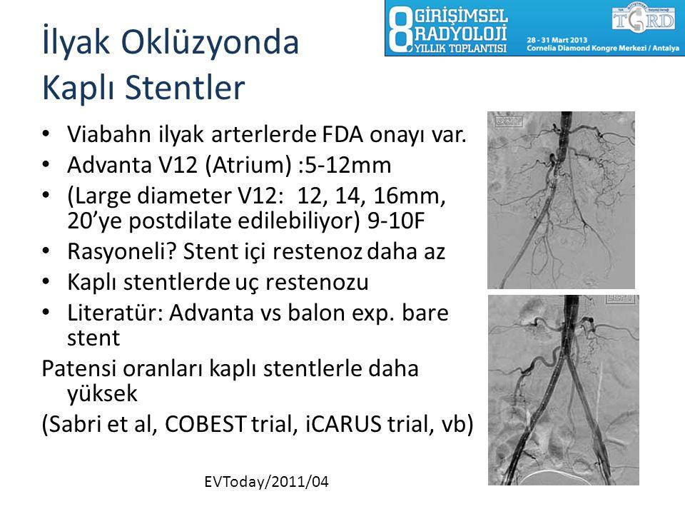 İlyak Oklüzyonda Kaplı Stentler Viabahn ilyak arterlerde FDA onayı var. Advanta V12 (Atrium) :5-12mm (Large diameter V12: 12, 14, 16mm, 20'ye postdila