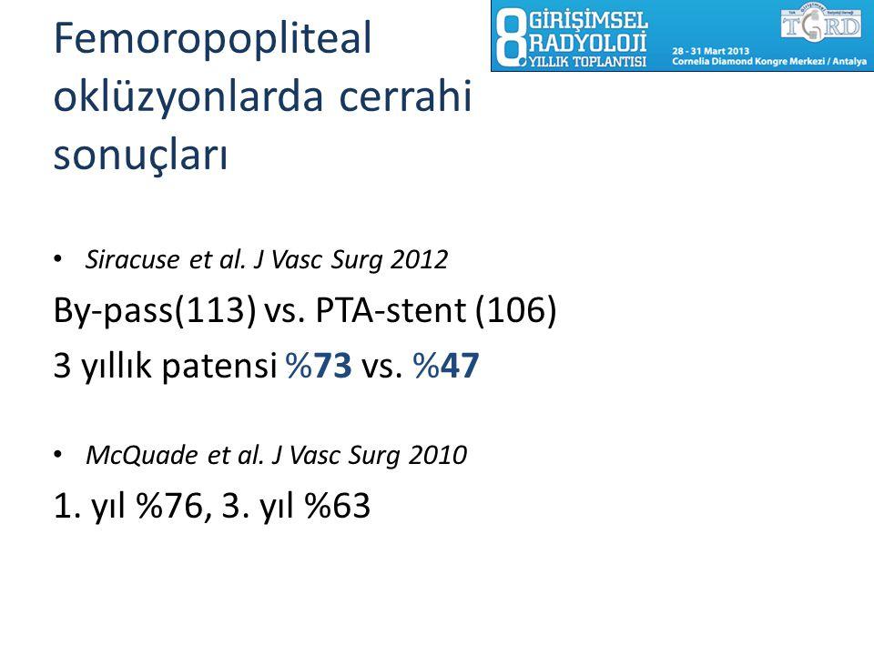 Femoropopliteal oklüzyonlarda cerrahi sonuçları Siracuse et al. J Vasc Surg 2012 By-pass(113) vs. PTA-stent (106) 3 yıllık patensi %73 vs. %47 McQuade
