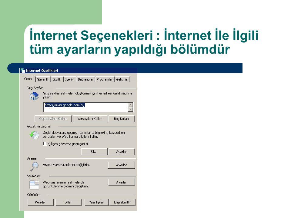 İnternet Seçenekleri : İnternet İle İlgili tüm ayarların yapıldığı bölümdür