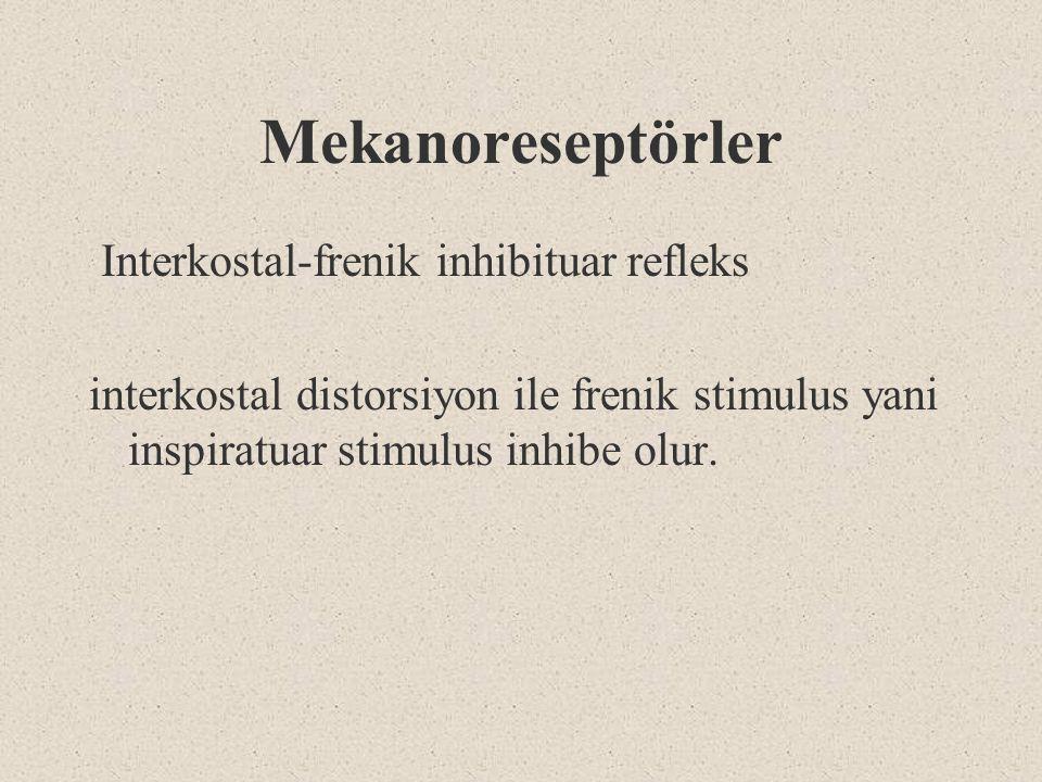Mekanoreseptörler Interkostal-frenik inhibituar refleks interkostal distorsiyon ile frenik stimulus yani inspiratuar stimulus inhibe olur.